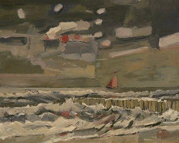 Segelboot entlang der Küste von Zeeland von Nop Briex
