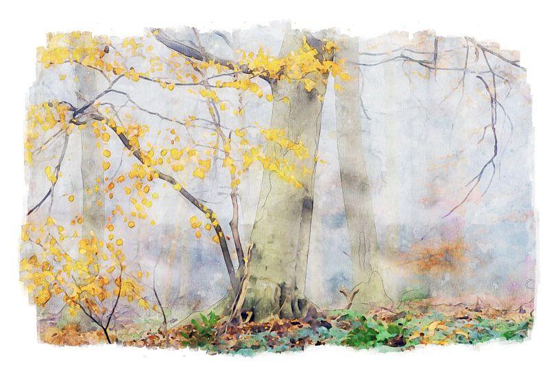 Aquarel van mistig herfstbos van Peter Bolman