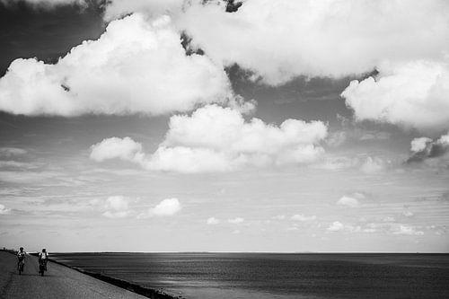 Fietsen op de dijk in Texel van