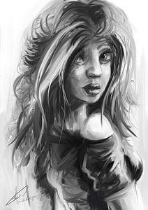 Zwart wit portret van vrouw die over haar schouder kijkt. Digitaal kunstwerk gemaakt in photoshop van Emiel de Lange