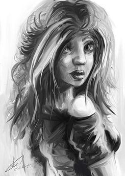 Schwarz-Weiß-Porträt einer Frau, die über ihre Schulter schaut. Digitales Kunstwerk in Photoshop ers von Emiel de Lange