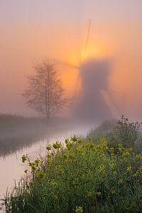 Mühle in den Niederlanden im Nebel