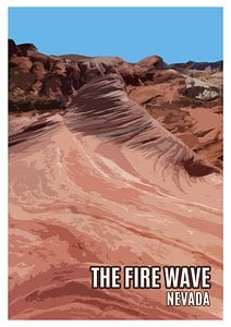 Vintage-Poster, The Fire Wave, Valley of Fire, Nevada, USA