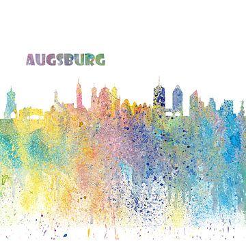 Augsburg Bavaria Skyline Silhouette Impressionistic Splash sur Markus Bleichner