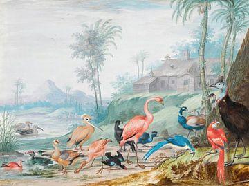 Eine Gruppe von exotischen Vögeln in einer Landschaft unter Palmen, Johannes Bronckhorst