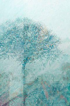 Tempera - - Blau-Grün Abstrakter Baum Fresko -artige Bildkomposition von John Quendag