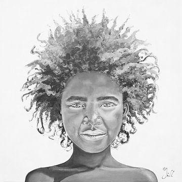 Afro Girl, peinture en noir et blanc d'une fille africaine avec une belle coiffure afro sur Bianca ter Riet