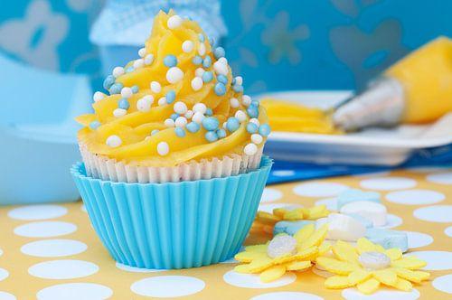 cupcake setting met blauw gele cupcake van