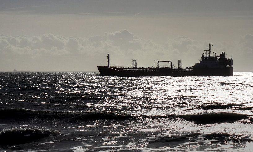 Scheepvaart voor de kustlijn van MSP Canvas