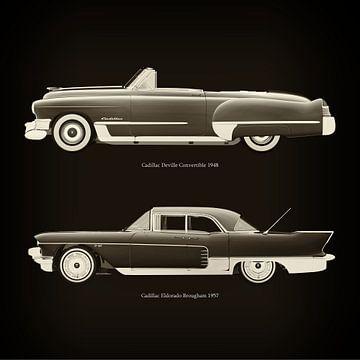 Cadillac Deville Convertible 1948 en Cadillac Eldorado Brougham 1957 van Jan Keteleer