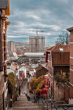 Uitzicht over Luik vanaf de trappen van Montagne de Bueren van Daan Duvillier