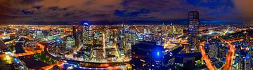 Melbourne skyline 's avonds