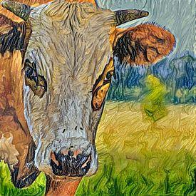 Digitaal schilderij Portret Blaarkopkoe van Photo Henk van Dijk