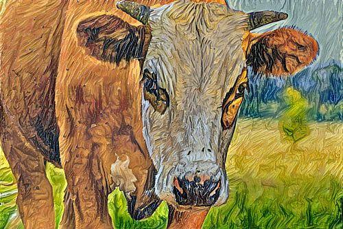Digitaal schilderij Portret Blaarkopkoe