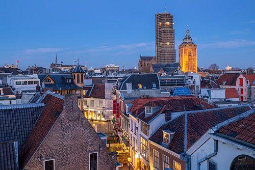 Utrecht stadsgezicht met Buurkerk en Domtoren