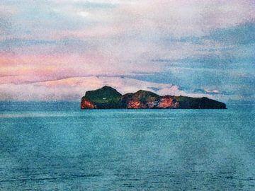 Blick auf Elliðaey, Island von