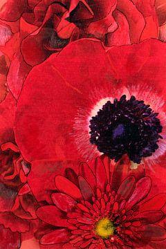 Mixed media met verschillende bloemen in rood. van Therese Brals