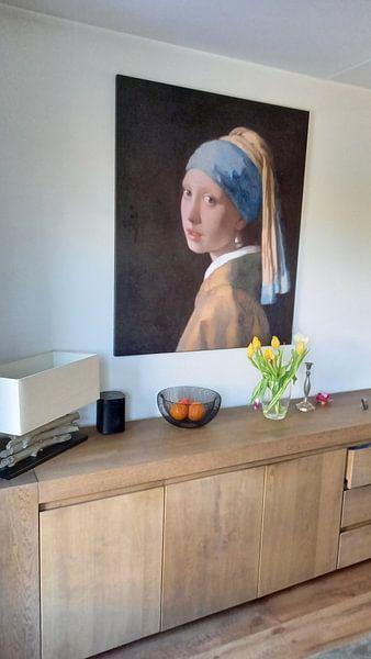 Klantfoto: Meisje met parel - Meisje van Vermeer - Schilderij (HQ)
