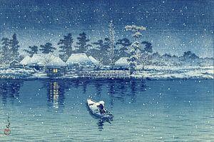 Roeier op rivier in de nachtelijke sneeuw (Ushibori), Kawase Hasui, Japan, 1930 van Roger VDB