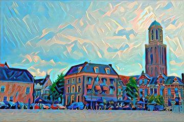 Modern Schilderij Zwolle Rodetorenplein met Peperbus in Futuristische stijl
