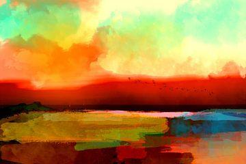 Zonsondergang op zee van Andreas Wemmje