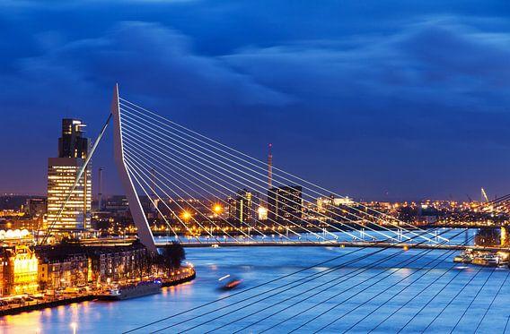 Erasmusbrug blauwe uur van Dennis van de Water
