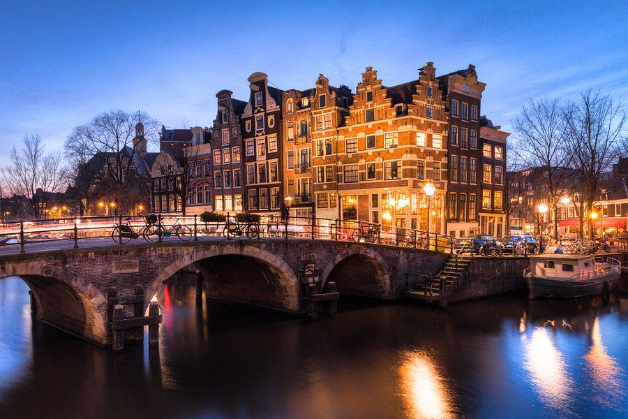 Amsterdam Prinsengracht hoek bij Avond