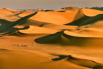 Sahara-Wüste, Kamelkarawane und Tuareg-Kameltreiber