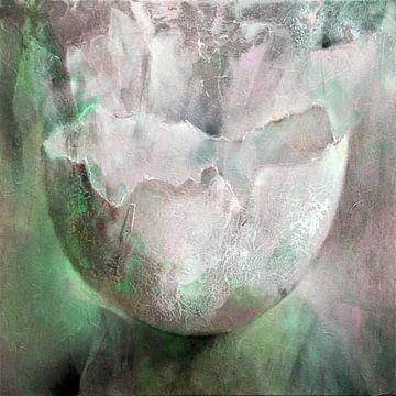 De eierschaal - structuren in roze en groen van Annette Schmucker