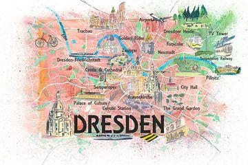Dresden Sachsen Duitsland Geïllustreerde kaart met hoofdstraten, bezienswaardigheden en hoogtepunten van Markus Bleichner