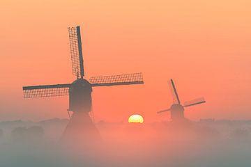 2 beaux moulins à vent en Hollande sur Jos Pannekoek