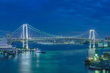 Blauwe nacht op de Tokyo Regenboogbrug. van Kuremo Kuremo