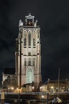 De grote kerk van Dordrecht verlicht van Karin Riethoven
