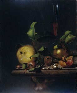 Stilleven met peren, mispels en een glas, Martinus Nellius