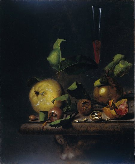 Stilleven met peren, mispels en een glas, Martinus Nellius van Meesterlijcke Meesters