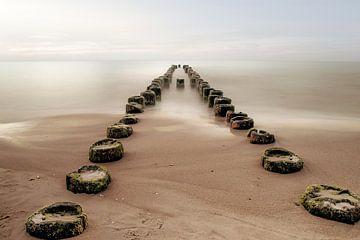 Wellenbrecher im Wasser am Ufer von Diana van Tankeren