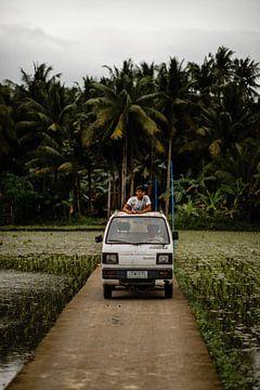 Man in auto tussen de rijstvelden in Filipijnen van Yvette Baur