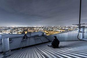 Skyline von Gent mit Person