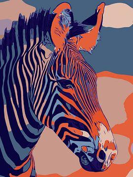 Zebra liefde, in oranje en blauwe kleuren en popart stijl van The Art Kroep