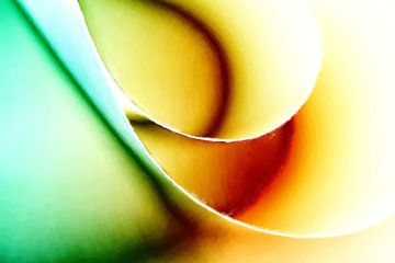 Abstrakt in grün, gelb und rot von Maurice Dawson