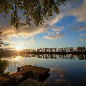 Coucher de soleil Lettelberterplas avec jetée de pêche sur R Smallenbroek