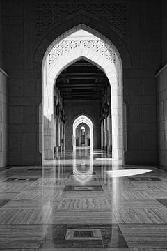 Zwartwit foto Sultan Qaboos Moskee Oman van Yvonne Smits