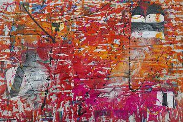 Grafisch abstract in oranje en roze van jolanda verduin