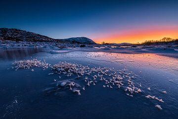 Zonsondergang op de Vesteralen, Noorwegen van