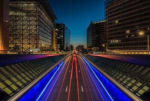 De wetstraat bij nacht van