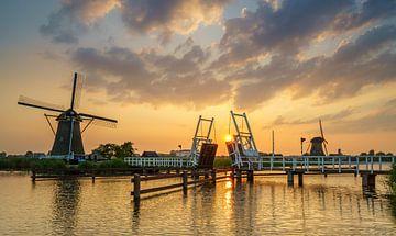 Kinderdijk sunset van Steven Driesen