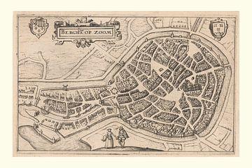 Karte von Bergen op Zoom mit weißem Rahmen, anno ca 1610 von Gert Hilbink
