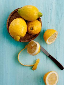 Citrons sur bleu sur Rose Mentink