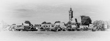 Burgh mit der reformierten Kirche (Panoramafoto, schwarz-weiß) von Fotografie Jeronimo
