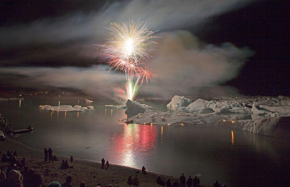 Vuurwerk boven Jokulsarlon